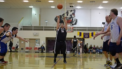 Yakutat's Ralph Wolfe (33) makes a free throw agaisnt James Gang in a C-Bracket elimination game in the Juneau Lions Club 71st Annual Gold Medal Basketball Tournament at Juneau-Douglas High School on Wednesday. James Gang won 70-62(Photo courtesy Klas Stolpe)
