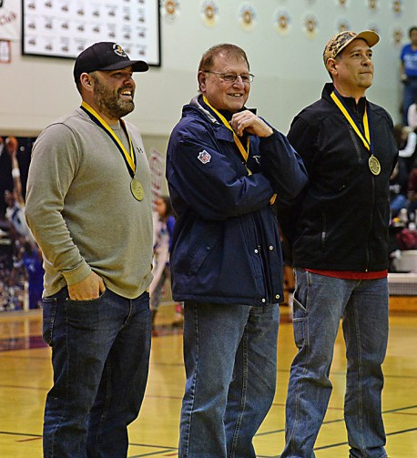 Klukwan's Stuart Dewitt, Washington referee Joe Thompson, and Kake's Nick Davis were selected into the Hall of Fame at the Juneau Lions Club 71st Annual Gold Medal Basketball Tournament at Juneau-Douglas High School on Friday. (Photo courtesy Klas Stolpe)