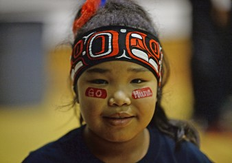 Nevaeh Campbell sports her Hoonah spirit during the Juneau Lions Club 71st Annual Gold Medal Basketball Tournament.