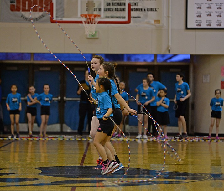 Members of the Juneau Jumpers perform at the Juneau Lions Club 71st Annual Gold Medal Basketball Tournament at Juneau-Douglas High School on Tuesday. (Photo courtesy Klas Stolpe)