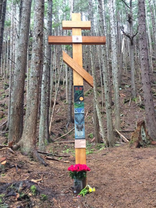 A healing cross with an Aleut motif was constructed by individuals incarcerated at Lemon Creek Correctional Center. (Photo by Scott Burton/KTOO)