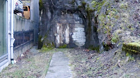 The tunnel under Telephone Hill is now boarded up at both ends (Video still by David Purdy/KTOO)