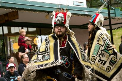 Various indigenous groups march and dance during a parade Saturday, June 9, 2018, in downtown Juneau, Alaska. (Photo by Tripp J Crouse/KTOO)