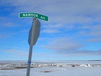 Street sign in Kaktovik