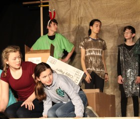 """Students rehearse for the Adolescent Montessori Program's performance of """"Sockeye,"""" an original play by Montessori Borealis eighth-grader Seth Coppens. """"Sockeye"""" plays 5:30 p.m. Thursday and Friday, May 9 and 10, in the Marie Drake gym.Tickets are $10 at the door, with proceeds to support AMP's upcoming class trip to Haines. (Photo courtesy of Julie Coppens)"""