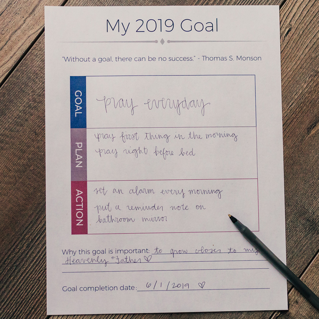 Lds Goal Setting Worksheet In Handouts