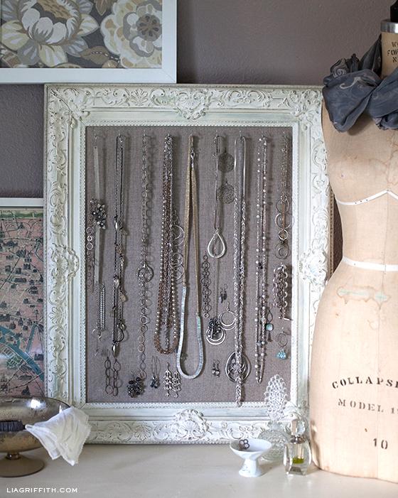 DIY Antiqued Frame Jewelry Display