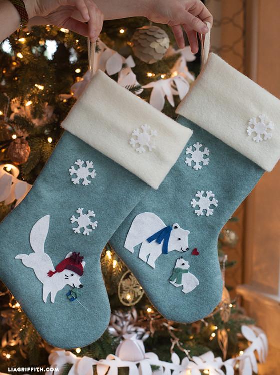 DIY Felt Stockings with Arctic Fox and Polar Bears Pattern   Lia Griffith