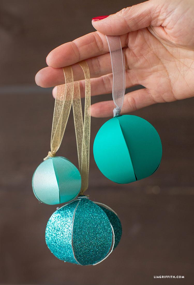 Diy Paper Ball Teal Ornaments