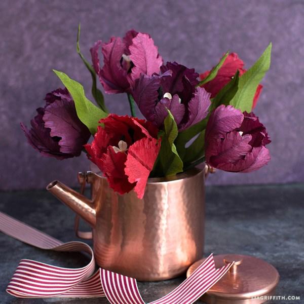 beginner crepe paper parrot tulips
