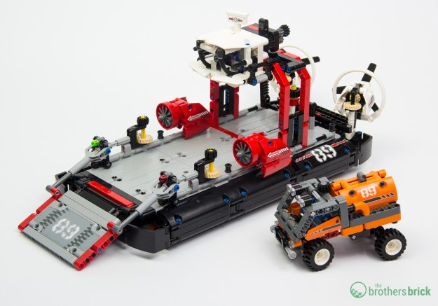 Finished Technic Hovercraft model with cargo truck