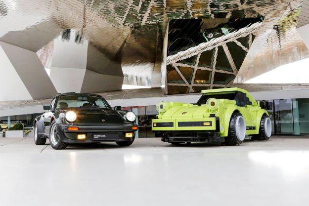 Real Porsche 911 & scaled-up LEGO Porsche 911 Turbo