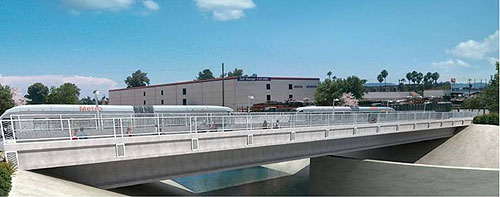 Dibujo arquitectónico del puente sobre el Río Los Angeles.