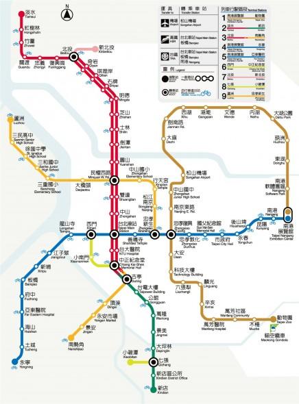 Mapa del sistema de trenes y estaciones del Metro de Taipei.