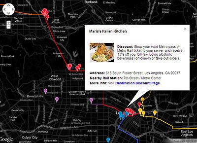 Mapa: servicio nocturno con destinos con descuento.