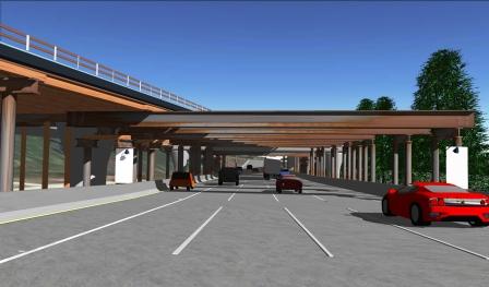Dibujo arquitecténico de las vigas de apoyo para construir el puente sobre la autopista 210.