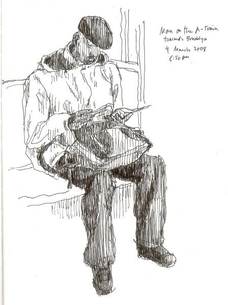 Hombre en tren A hacia Brooklyn. 4 de Marzo de 2008. 8:50 p.m.