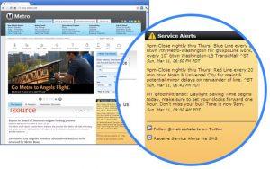 Alertas de servicio en la página de metro.net