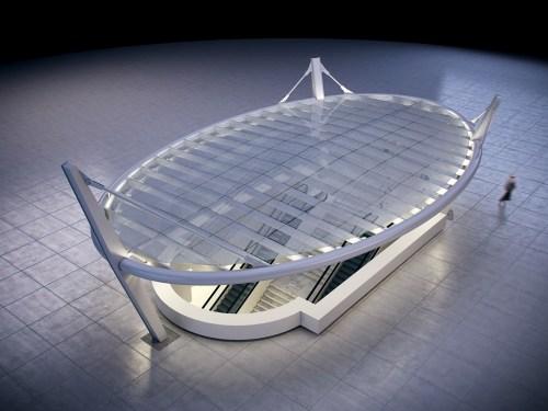 Dibujo arquitectónico de como va a quedar el pabellón.
