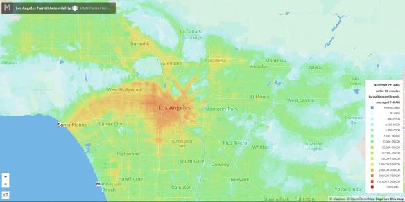 Las áreas más oscuras en rojo y naranja son las que tienen mejores conexiones a los empleos por medio de transporte público. Foto: Universidad de Minnesota.
