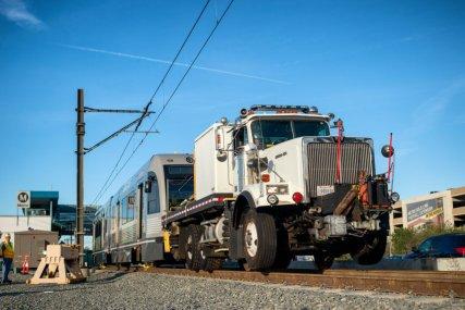 tren en un camión