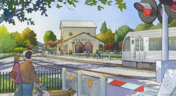 An artist rendering of the rebuilt Monrovia station that would serve the Foothill Extension of the Gold Line.