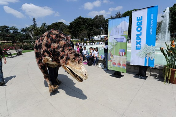 Enter stage right: Hunter the T-Rex from the Natural History Museum. Photo by Gary Leonard.