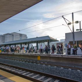The very busy Gold Line platform at Union Station.