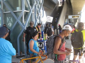 Bikers getting their passes before heading up to the platform at Culver City. Photo by Dave Sotero/Metro