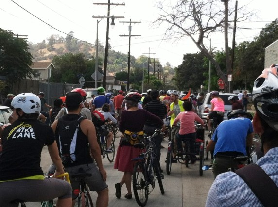 Just a fraction of cyclists that turned out for the ride.