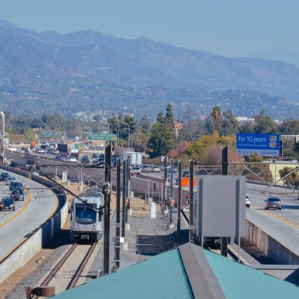 The view east today from the top of the Gold Line's Sierra Madre Villa station. Photo by Steve Hymon/Metro.