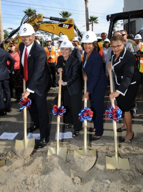 Officials at the Crenshaw/LAX Line groundbreaking. From left, Secretary Anthony Foxx, Sen. Barbara Boxer, Rep. Maxine Waters, Rep. Karen Bass. Photo by Juan Ocampo for Metro.