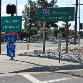 Wayfinding signage and drought-tolerant landscaping.