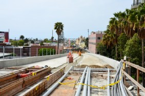 Work was also progressing on the Expo Line's second phase. This is a view from the bridge over Olympic Boulevard.