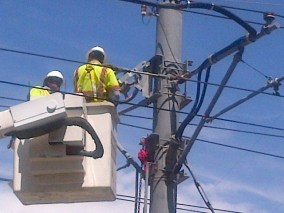 Crews working early this afternoon to repair the damage to the wires.