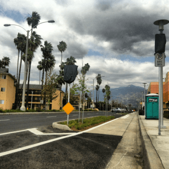 Newly implemented cycle tracks on Temple City's Rosemead Boulevard