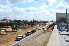 Looking east as the tracks rise to go over Venice Boulevard.