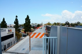 Looking from the existing Culver City station platform toward the new bridge across Venice Boulevard.