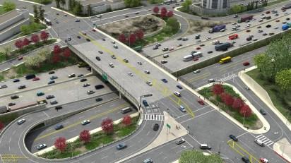 A rendering of the widened Sunset Boulevard bridge.