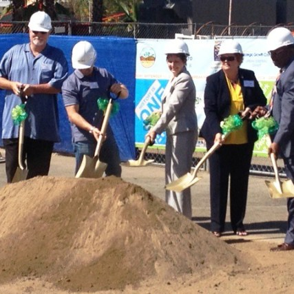 Officials at the groundbreaking ceremony for the Station Square Transit Village. Photo: Rick Jager/Metro