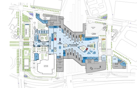 A ground floor site plan of the Master Plan. The big changes: a relocated Patsaouras Bus Plaza would be elevated and be located between the rear of the historic concourse and the existing railroad tracks. The current pedestrian tunnel under the tracks and platforms would be replaced by a widened multi-modal concourse, with two sunken areas offering seating and amenities.
