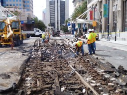 Track was replaced in downtown Long Beach in September as part of the Better Blue Line project. Photo by Anna Chen/Metro.