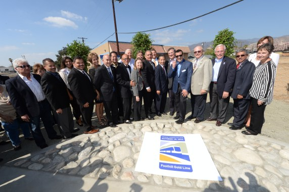 Local, state and federal officials at yesterday's ceremony in Azusa.