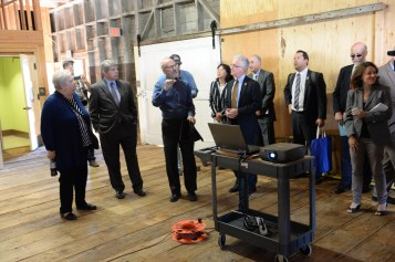 Officials get a briefing on the work that has been done to renovate the depot.