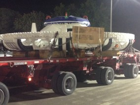 The head of the tunnel boring machine to be used to dig tunnels for the Crenshaw/LAX Line makes its way toward the construction staging area from the Port of Long Beach. Photo: Metro.
