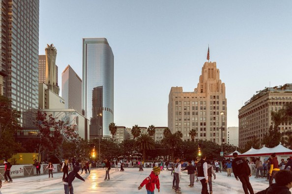 Sunset at Holiday Ice Rink Pershing Square. Photo: Steve Hymon/Metro