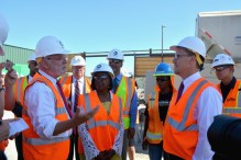 Metro CEO Art Leahy and U.S. Labor Secretary Thomas Perez touring a work site for the Crenshaw/LAX Line in August. Photo: Metro.