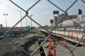 Looking south on Crenshaw Boulevard at street decking work.