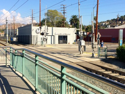The Metro and Found seen from the Gold Line Heritage Square platform.