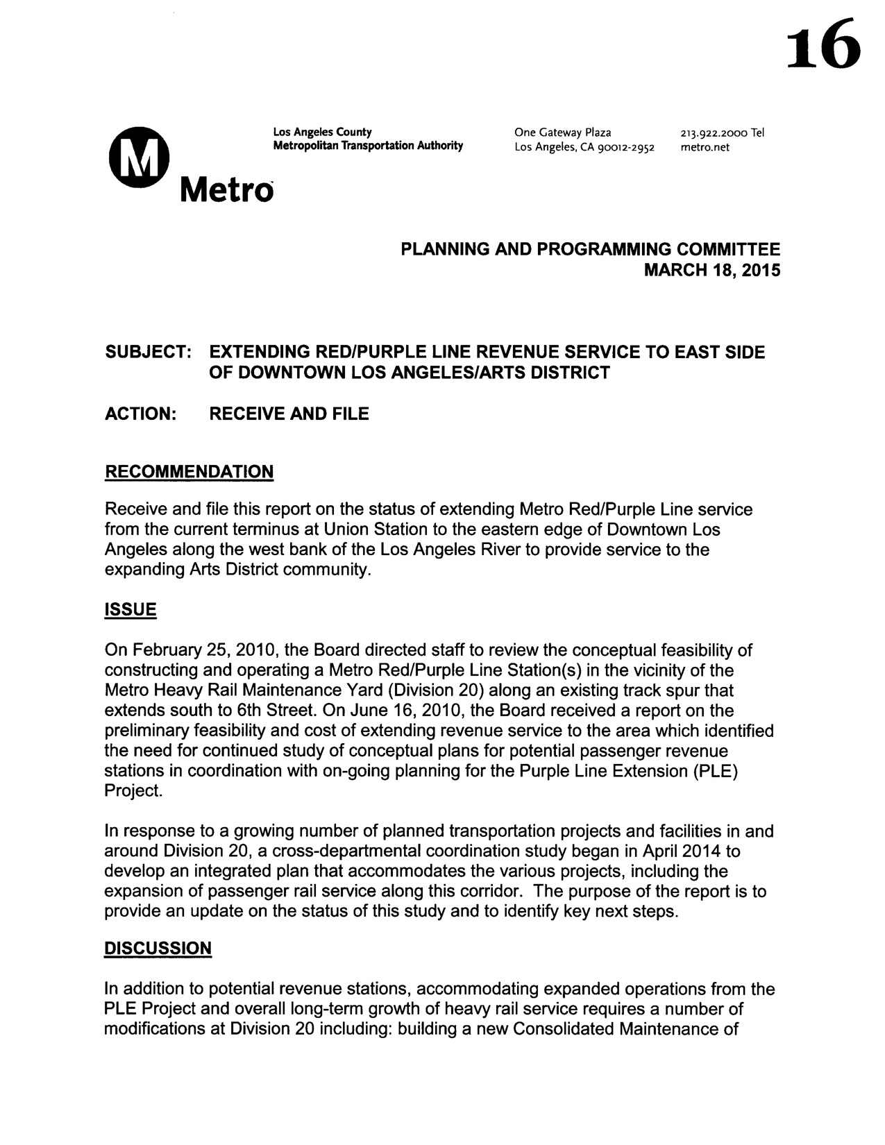 Delightful Staff Report Discusses Potential Arts District Station